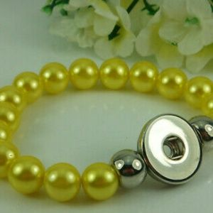 Yellow Interchangeable Snap Button Bracelet
